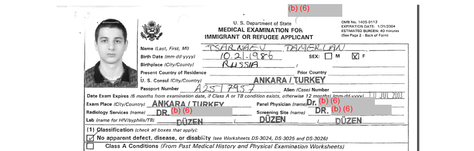 The rescanned image from page 125 of Tamerlan Tsarnaev's A-File.