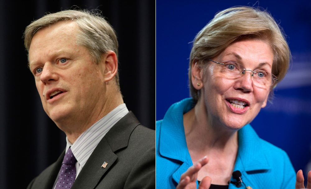 Gov. Charlie Baker and U.S. Sen. Elizabeth Warren racked up big re-election wins on Tuesday. (AP photos)