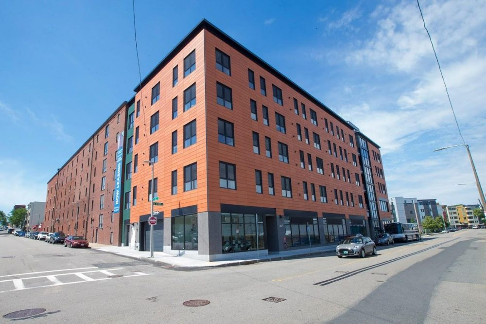 The Distillery North Apartments is a new luxury development attached to a mid-19th-century distillery on East First Street in South Boston that is an energy efficient passive house. (Jesse Costa/WBUR)