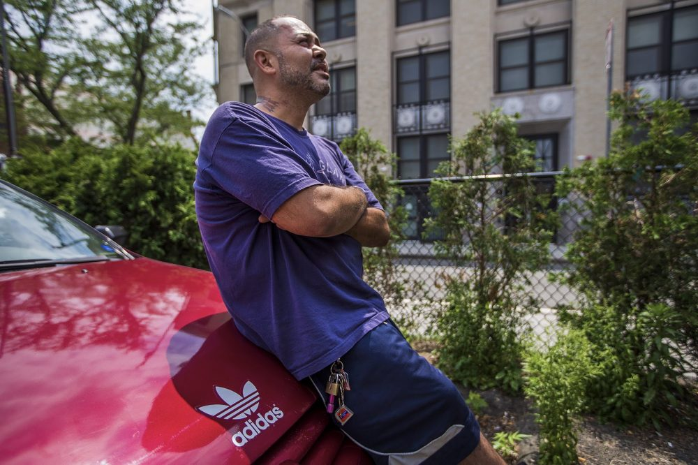 "Jose, who's 45 and lives out of his car, has been through detox and treatment four times. He was enthusiastic about the idea of a recovery campus. ""If this program's available I would want to be one of the first ones to get in it,"" he said. (Jesse Costa/WBUR)"