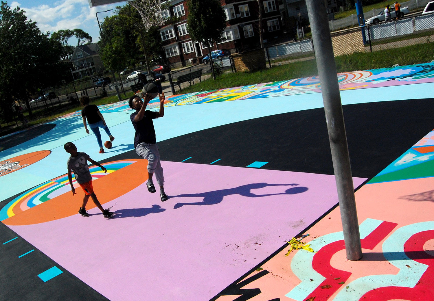 With Basketball Court Mural And Handmade Nets Boston Artist Unites