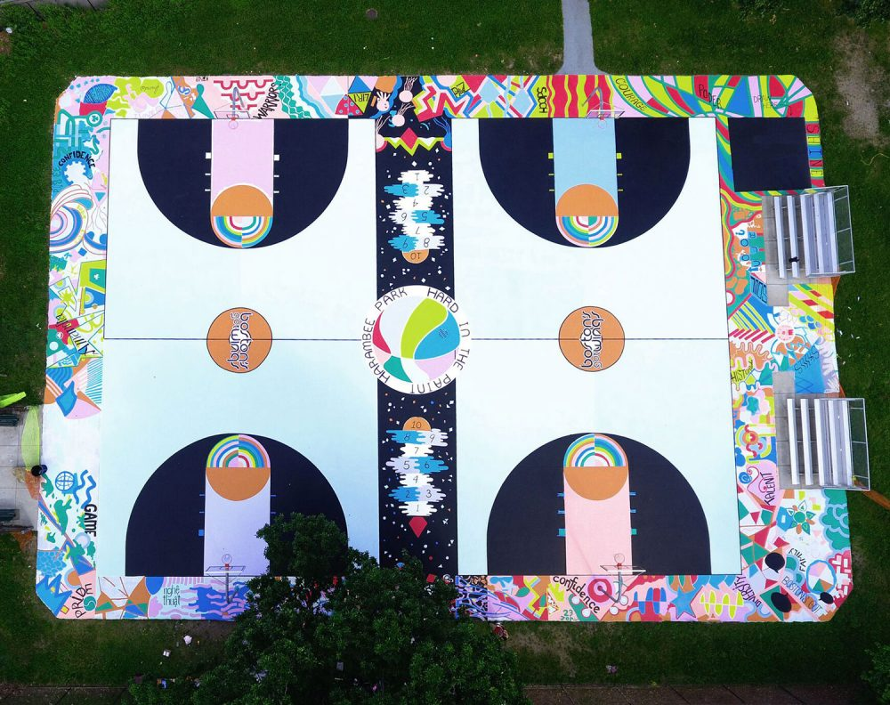 "Aerial view of Maria Molteni's ""Hard In the Paint"" basketball court mural at Boston's Harambee Park. (Alan Shapiro)"