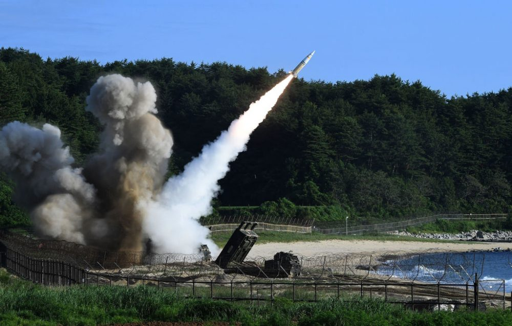 In this handout photo released by the South Korean Defense Ministry,  U.S. M270 Multiple Launch Rocket System firing an MGM-140 Army Tactical Missile during a U.S. and South Korea joint missile drill aimed to counter North Korea's intercontinental ballistic missile test on July 5, 2017 in East Coast, South Korea. The U.S. Army and South Korean military responded to North Korea's missile launch with a combined ballistic missile exercise on Wednesday, into South Korean waters along the country's eastern coastline. (South Korean Defense Ministry via Getty Images)