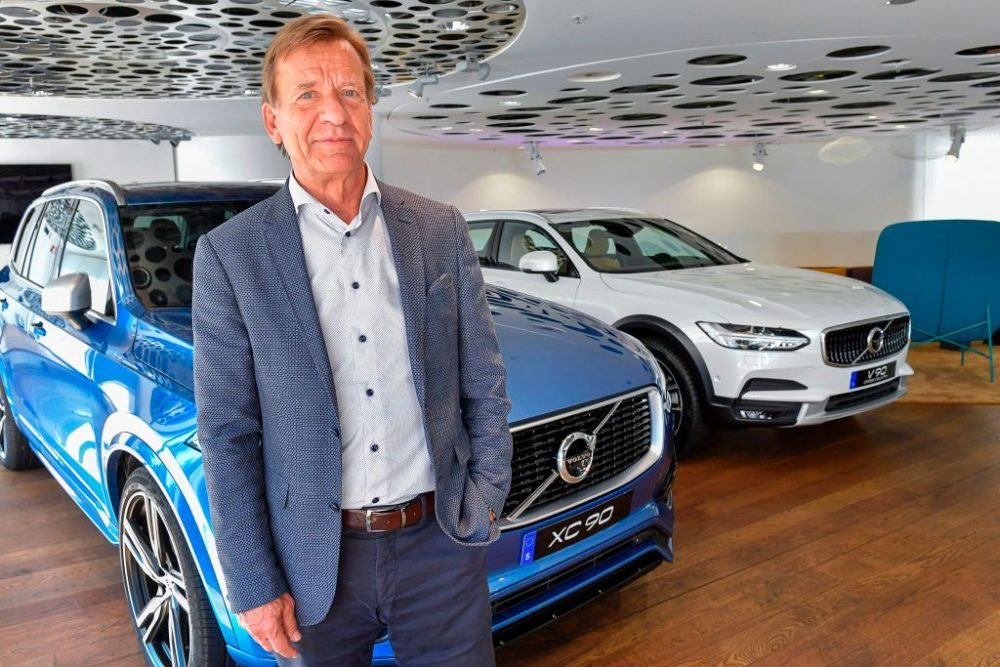 Volvo Cars CEO Hakan Samuelsson poses for photographer after an interview at Volvo Cars Showroom in Stockholm, Sweden, on July 5, 2017. Samuelsson said that all Volvo cars will be electric or hybrid within two years. The Chinese-owned automotive group plans to phase out the conventional car engine. (Jonas Ekstromer/AFP/Getty Images)
