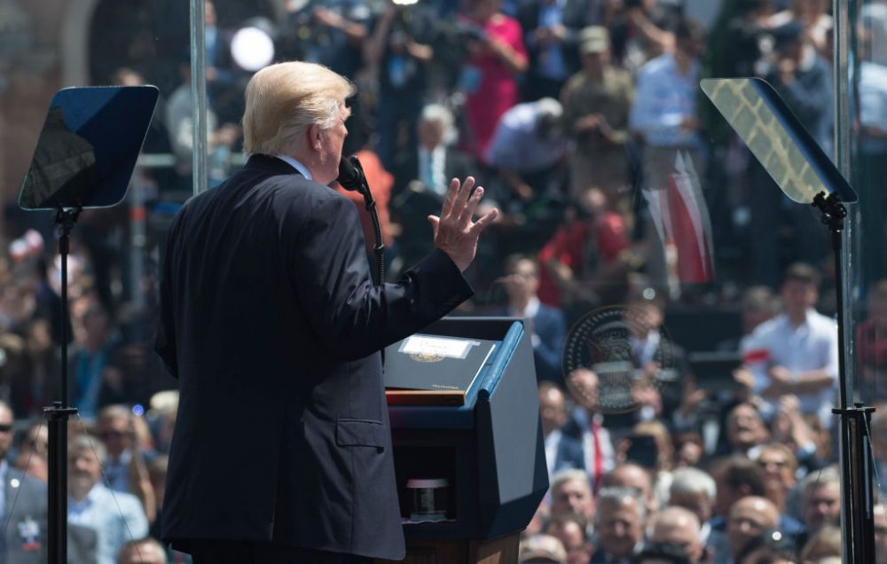 President Donald Trump gives a speech at the Warsaw Uprising Monument on Krasinski Square after he gave a speech during the Three Seas Initiative Summit in Warsaw, Poland, July 6, 2017. (Saul Loeb/AFP/Getty Images)