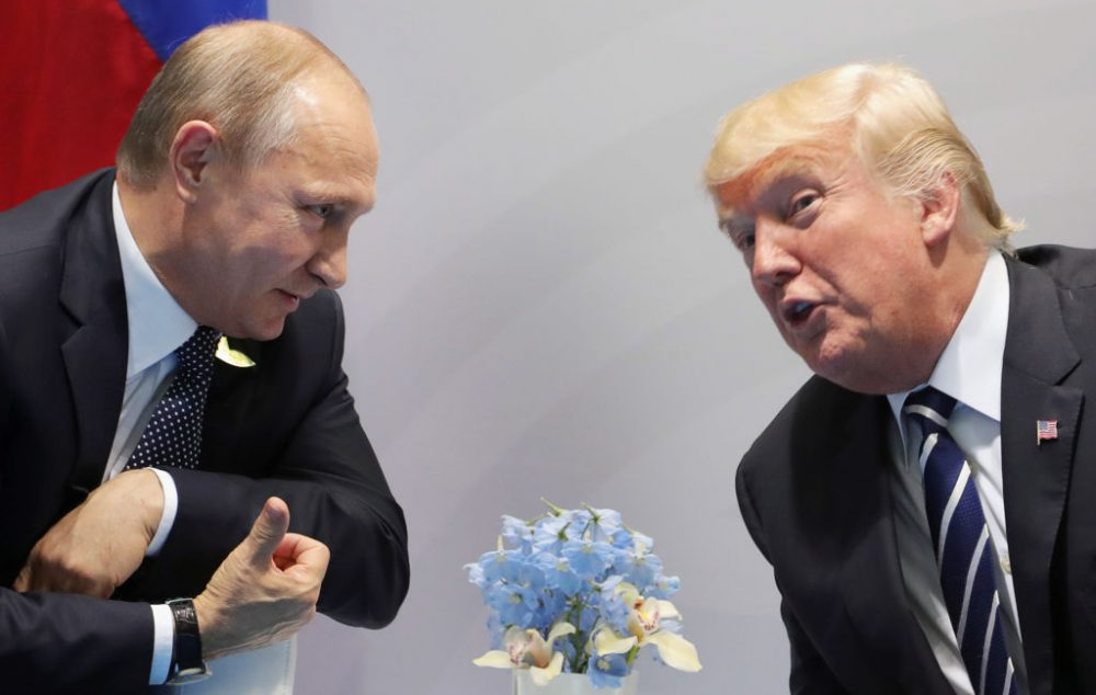 U.S. President Donald Trump (right) and Russia's President Vladimir Putin speaks during their meeting on the sidelines of the G-20 Summit in Hamburg, Germany, on July 7, 2017. (Mikhail Klimentiev/AFP/Getty Images)