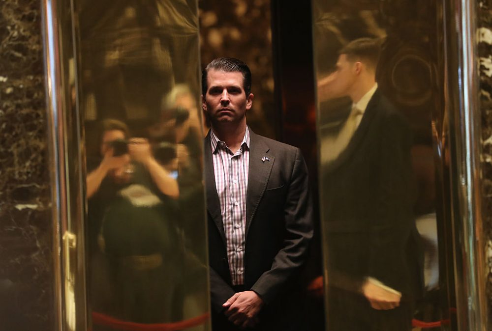 Donald Trump Jr. arrives at Trump Tower on January 18, 2017 in New York City. (John Moore/Getty Images)