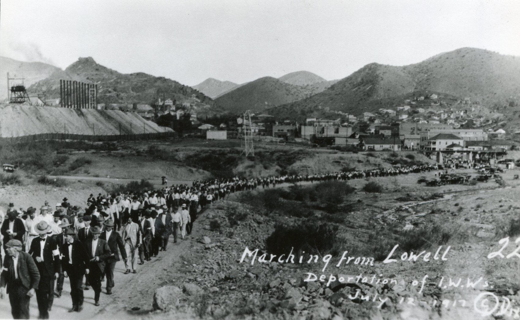 The Bisbee Deportation started in the early morning hours of July 12, 1917. Striking miners, and other men caught up in the frenzy, were marched several miles out of the small Southern Arizona town. About 1,200 were eventually packed into cattle cars and unloaded in the middle of the New Mexico desert. (Courtesy of the Bisbee Mining & Historical Museum, a Smithsonian Affiliate)