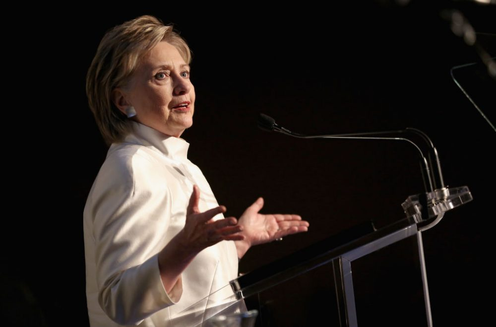 Hillary Clinton speaks at the 2017 Stephan Weiss Apple Awards on June 7, 2017 in New York City.  (Monica Schipper/Getty Images for Urban Zen Foundation)