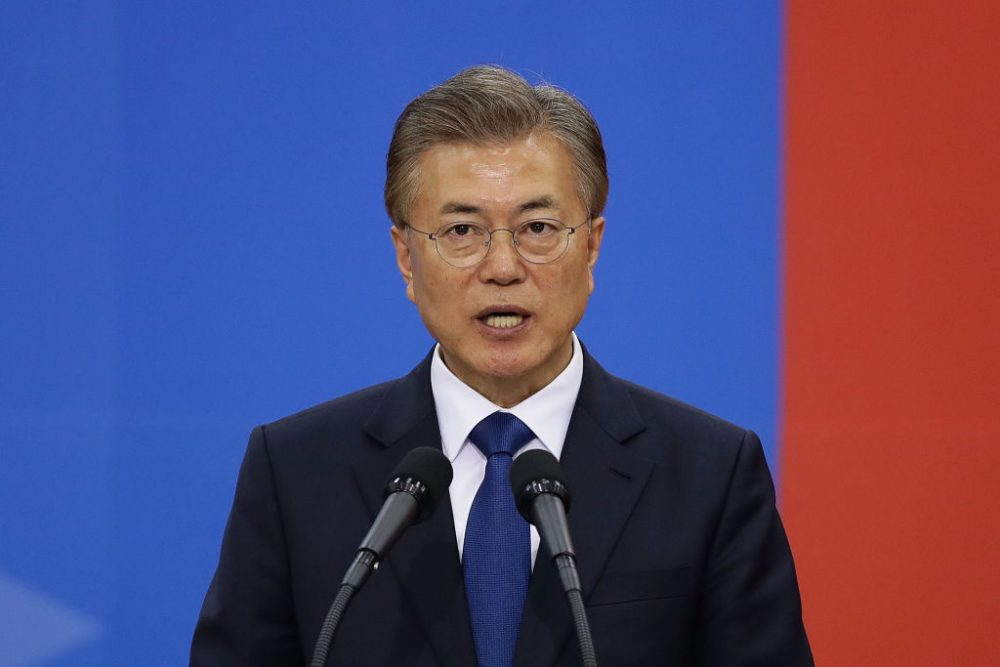 South Korea's President Moon Jae-In speaks during his presidential inauguration ceremony at National Assembly on May 10, 2017 in Seoul, South Korea. (Chung Sung-Jun/Getty Images)