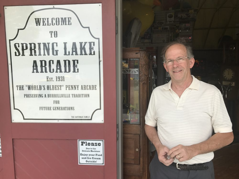 John Bateman, owner of the Spring Lake Arcade, which has been thrilling kids every summer since 1931. (Peter O'Dowd/Here & Now)