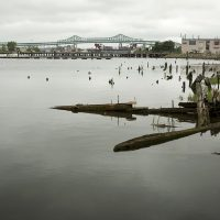 Several industrial sites are located on the Chelsea Creek. (Robin Lubbock/WBUR)
