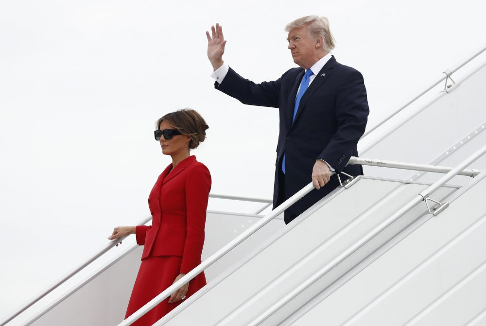 U.S. President Donald Trump and first lady Melania arrive on Air Force One at Orly Airport in Paris, Thursday, July 13, 2017. The president and first lady will attend the Bastille Day parade on the Champs Elysees avenue in Paris Friday, July 14. (Carolyn Kaster/AP)