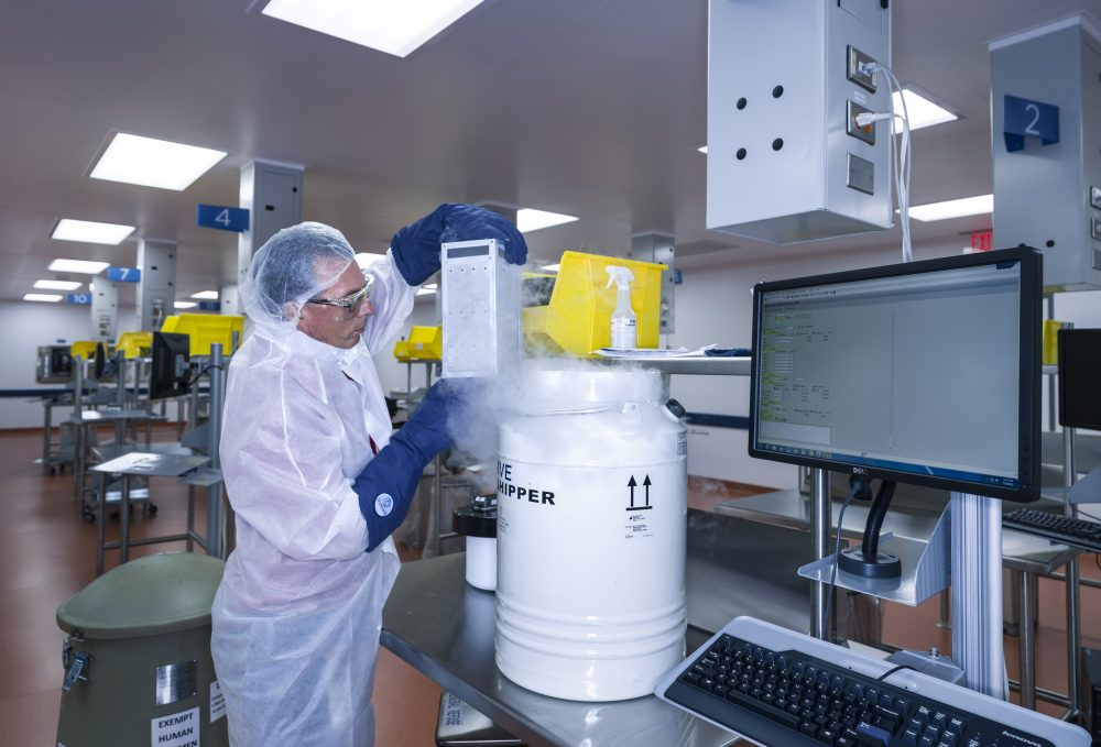 In this July 9, 2015, photo, provided by Novartis Pharmaceuticals Corp., human T cells belonging to cancer patients arrive at Novartis Pharmaceuticals Corp.'s Morris Plains, N.J., facility. This laboratory is where the T cells of cancer patients are processed and turned into super cells as part of a new gene therapy-based cancer treatment Novartis is a part of. (Brent Stirton/Courtesy of Novartis Pharmaceuticals Corp. via AP)