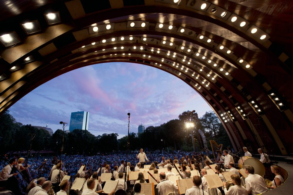 The Boston Landmarks Orchestra performing at the Hatch Shell. (Courtesy Michael Dwyer)
