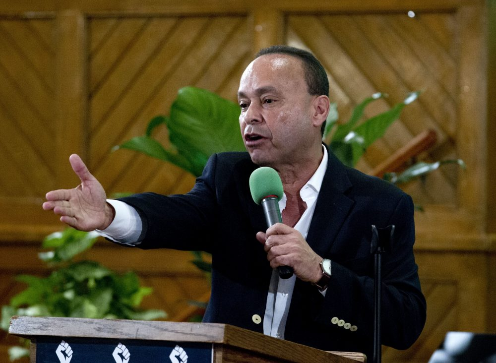 Rep. Luis Gutierrez D-Ill., speaks to immigrant rights advocates during a rally against President-elect Donald Trump's immigration policies, at Metropolitan AME Church in Washington, Saturday, Jan. 14, 2017.  (Jose Luis Magana/AP)
