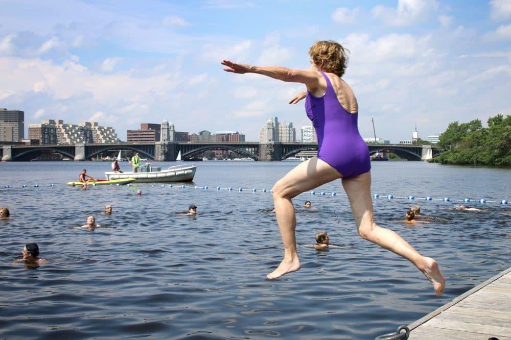 Swimmers jump into the Charles for City Splash. (Kathleen Dubos for WBUR)