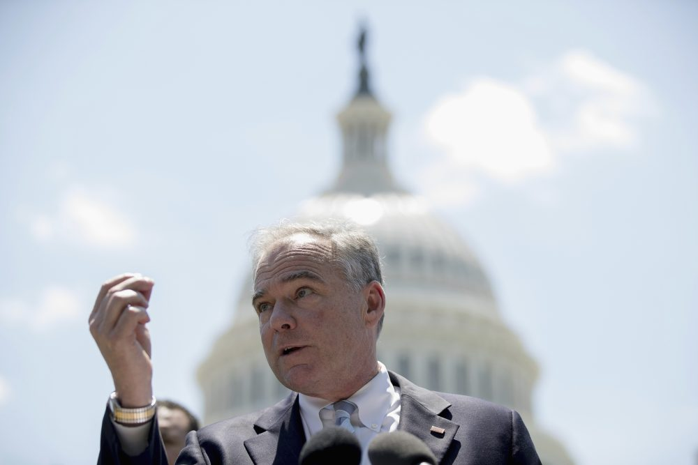 Sen. Tim Kaine, D-Va. speaks at a Spanish-language news conference to discuss the Senate GOP health care bill, Wednesday, June 28, 2017, on Capitol Hill in Washington. (Andrew Harnik/AP)