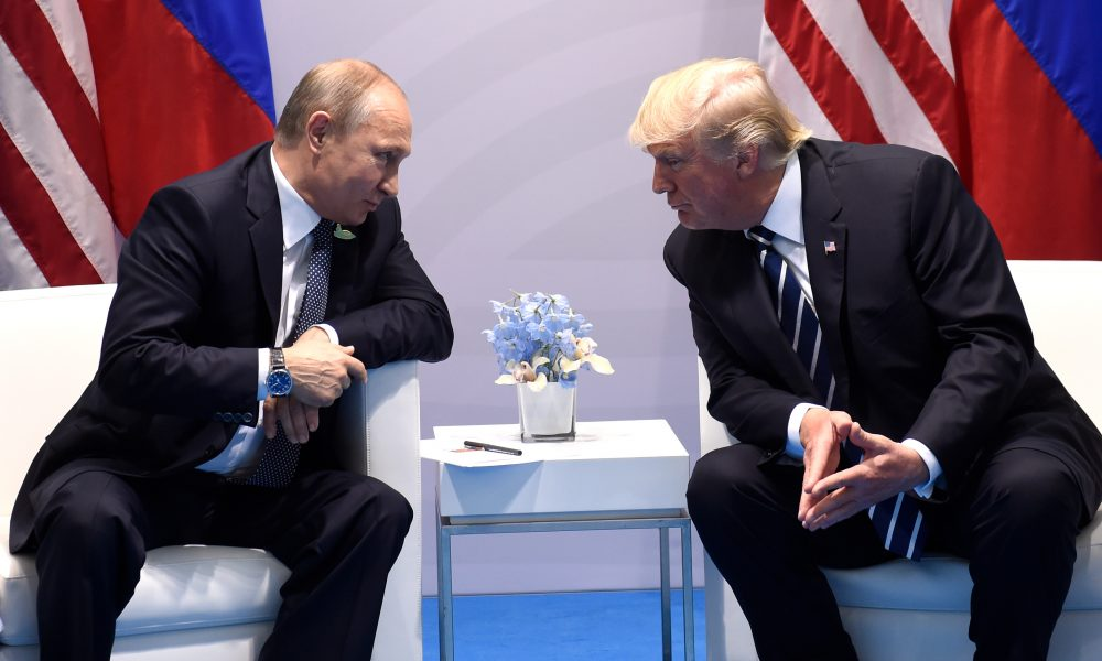 President Trump and Russian President Vladimir Putin hold a meeting on the sidelines of the G-20 summit in Hamburg, Germany, on July 7, 2017. (Saul Loeb/AFP/Getty Images)