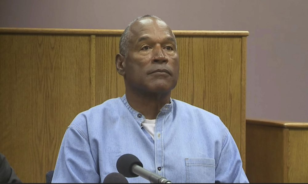 Former NFL football star O.J. Simpson appears via video for his parole hearing at the Lovelock Correctional Center in Lovelock, Nev., on Thursday, July 20, 2017. (KOLO-TV via AP, Pool)