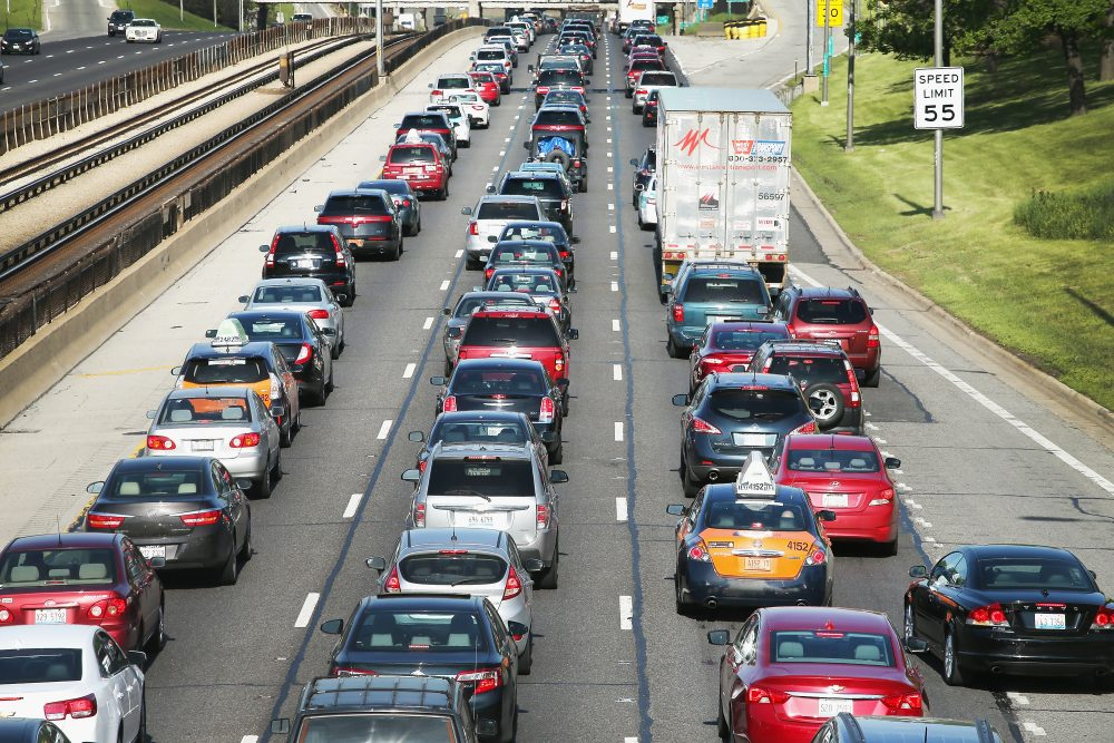 Traffic jams up on the Kennedy Expressway leaving the city for the Memorial Day weekend on May 23, 2014, in Chicago. (Scott Olson/Getty Images)