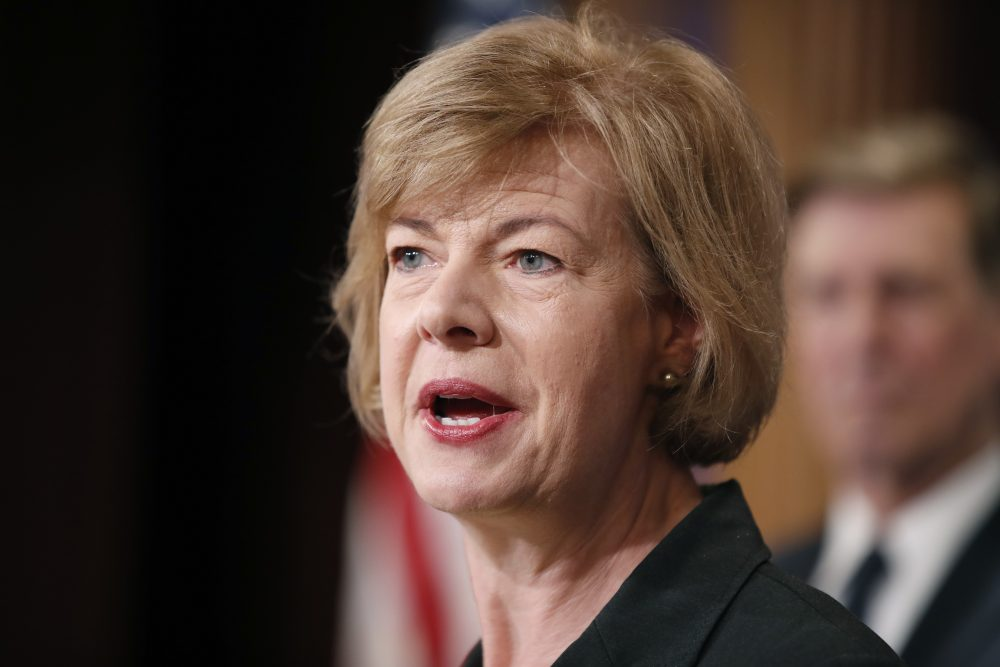 Sen. Tammy Baldwin, D-Wis., speaks about President Trump's first 100 days, during a media availability on Capitol Hill in Washington in April 2017. (Alex Brandon/AP)