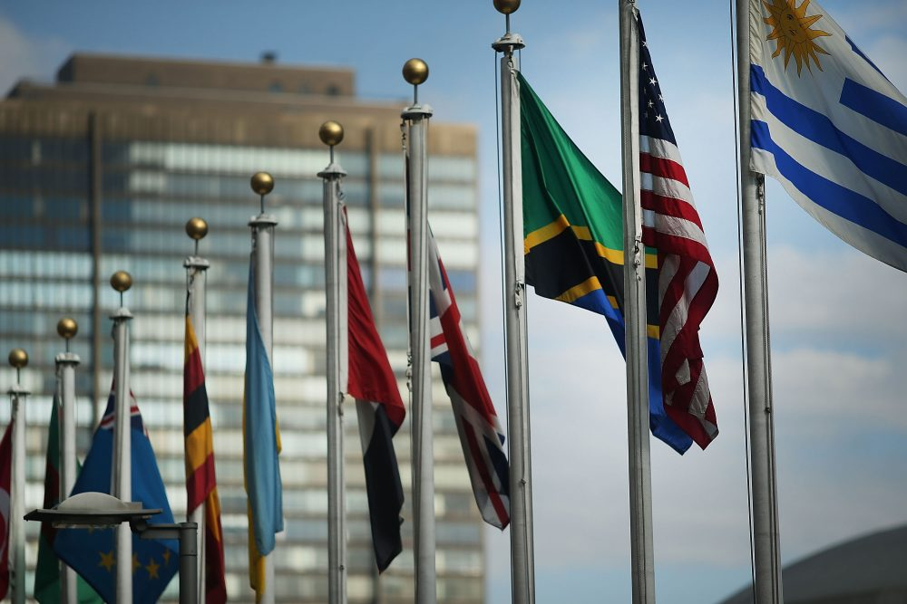 The  American flag flies with other nations' flags outside the United Nations in New York. (Spencer Platt/Getty Images)