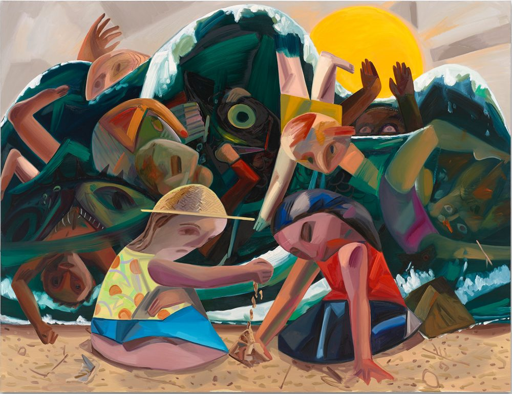 "Dana Schutz's 2016 painting ""Big Wave,"" which is featured in her ICA exhibition. (Courtesy the artist and Petzel, New York)"