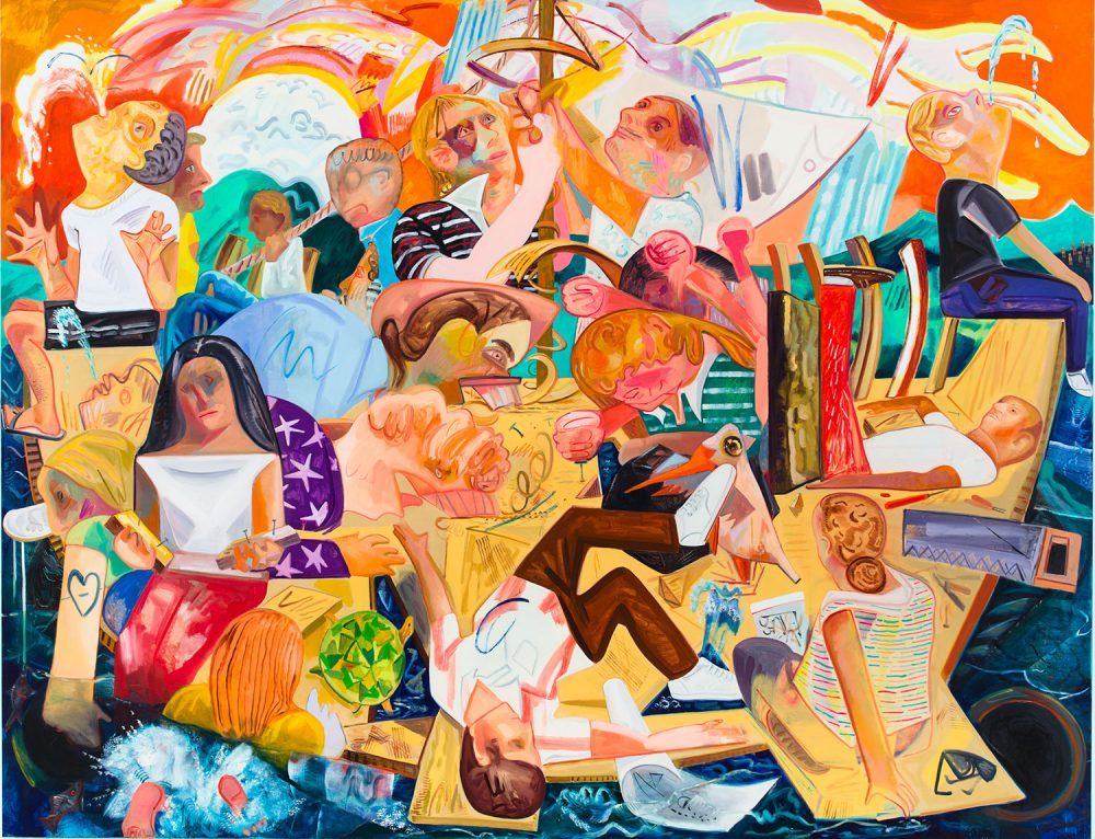 "Dana Schutz's 2012 painting ""Building the Boat While Sailing,"" which is featured in her ICA exhibition. (Courtesy the artist and Petzel, New York)"