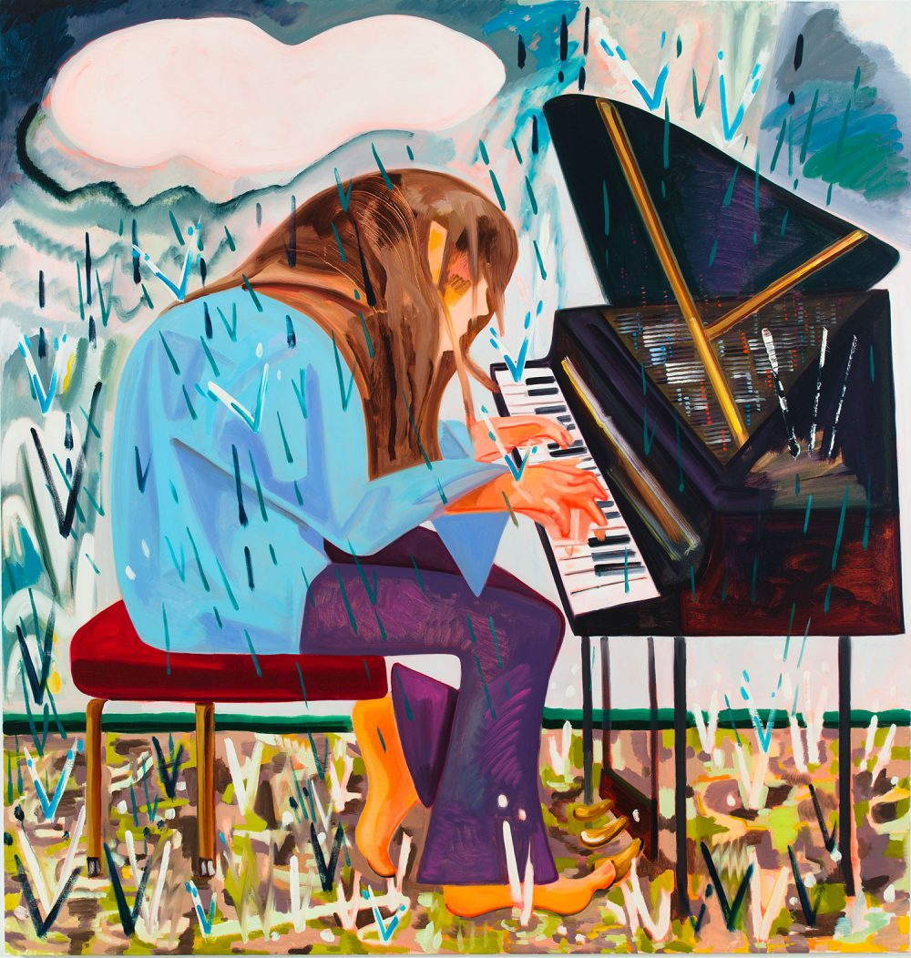 "Dana Schutz's 2012 painting ""Piano in the Rain,"" which is featured in her ICA exhibition. (Courtesy the artist and Petzel, New York)"