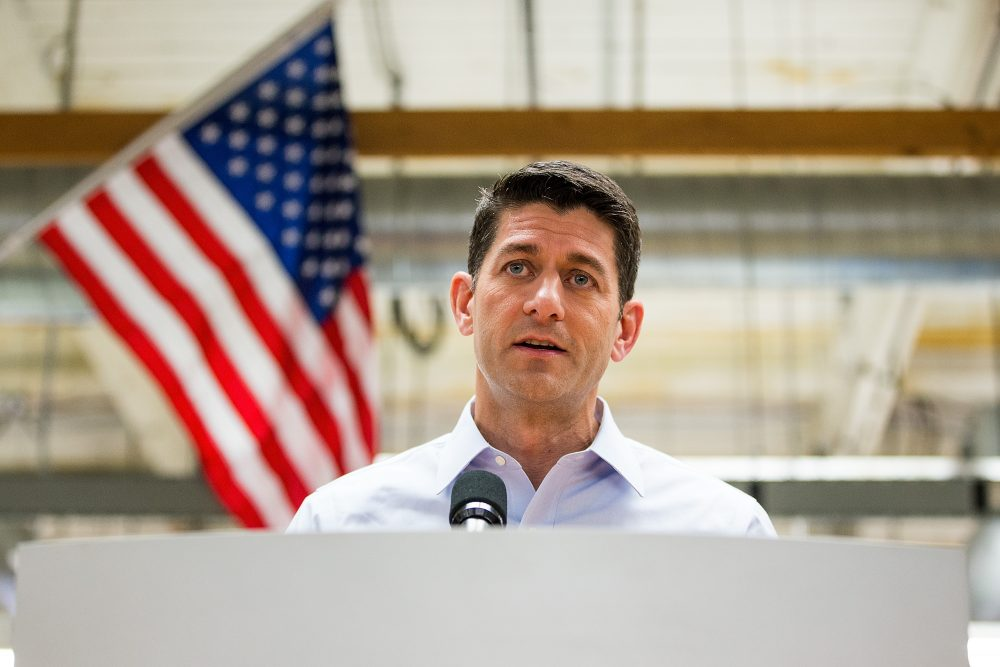 House Speaker Paul Ryan (R-Wisc.) meets with the media during a visit to the New Balance shoe factory on July 20, 2017 in Lawrence, Mass. (Adam Glanzman/Getty Images)