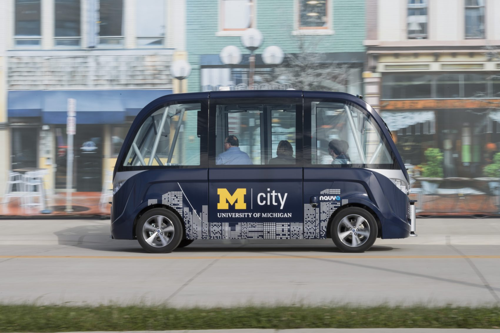The Arma, a driverless electric shuttle manufactured by French firm NAVYA, was introduced to North America at the Mcity Test Facility in December 2016. (Courtesy University of Michigan)