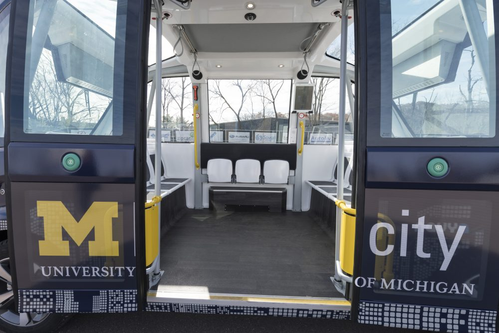 The driverless NAVYA Arma electric shuttle can carry up to 15 passengers. (Courtesy University of Michigan)