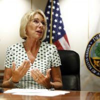 Education Secretary Betsy DeVos speaks with the media after a series of listening sessions about campus sexual violence, Thursday, July 13, 2017, in Washington. (Alex Brandon/AP)