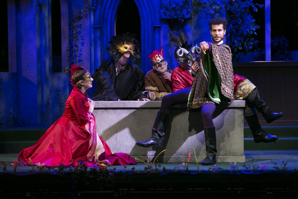 """The cast of Commonwealth Shakespeare Company's """"Romeo and Juliet"""" on Boston Common. (Courtesy Evgenia Eliseeva/Commonwealth Shakespeare Company)"""