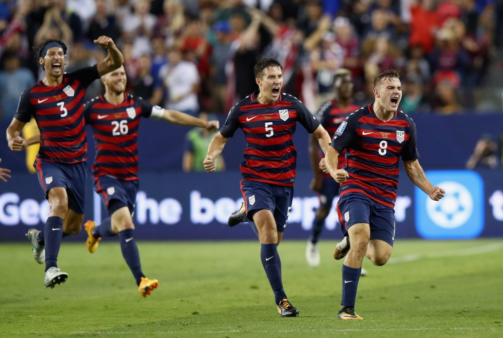 Jordan Morris of the United States celebrates scoring a goal against Jamaica during the 2017 CONCACAF Gold Cup final at Levi's Stadium on July 26, 2017, in Santa Clara, Calif. (Ezra Shaw/Getty Images)