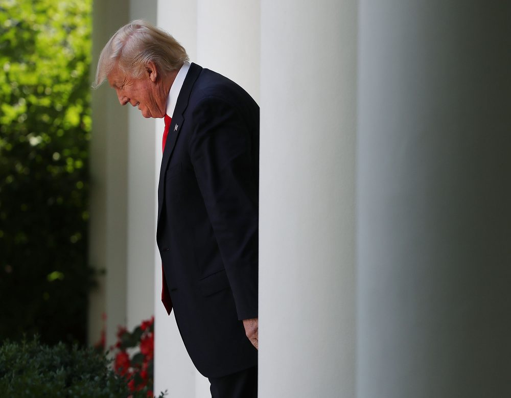 President Trump walks into the Rose Garden on July 26, 2017, in Washington, D.C. (Mark Wilson/Getty Images)