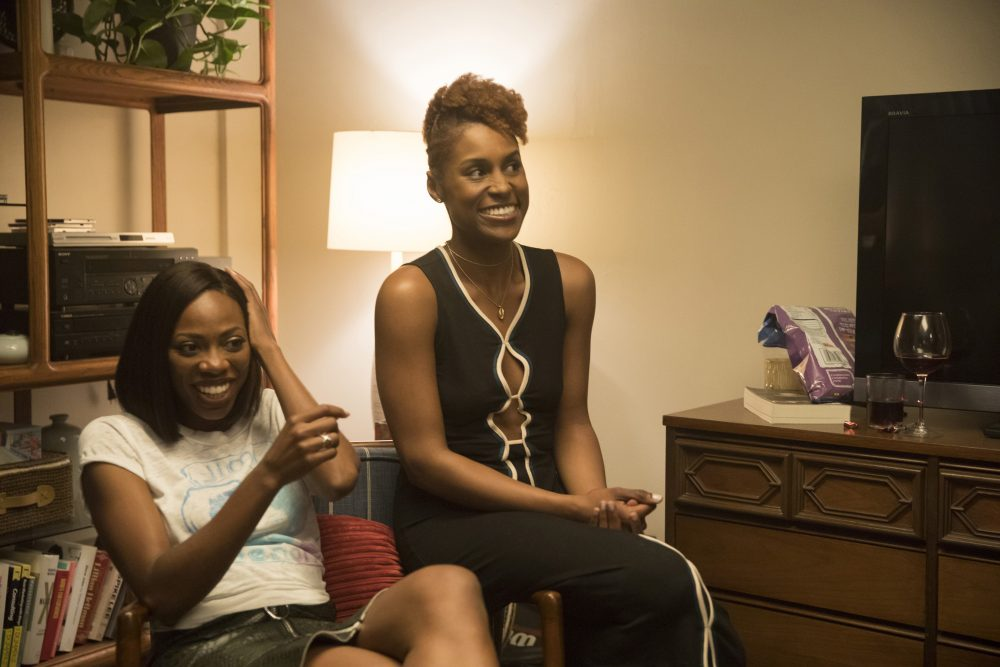 """Critics say """"Insecure,"""" starring Issa Rae (right), is transforming the way black women are portrayed on TV. (Justina Mintz/Courtesy of HBO)"""
