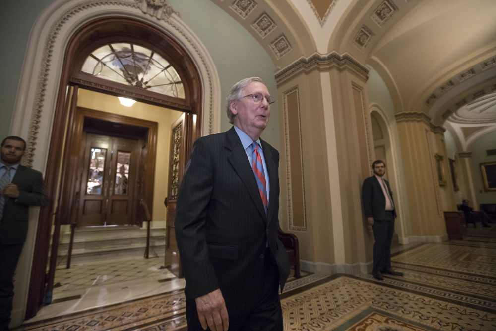 Senate Majority Leader Mitch McConnell (R-Ky.) leaves the Senate chamber on Capitol Hill in Washington, Thursday, July 27, 2017. (J. Scott Applewhite/AP)