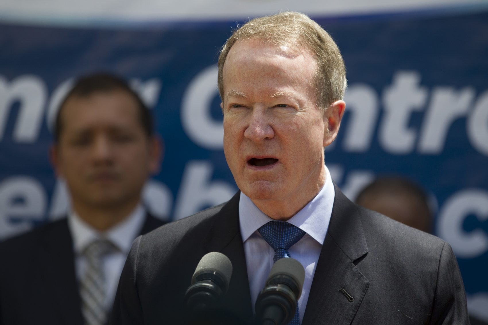 In this March 6, 2017 file photo William Brownfield, assistant secretary for International Narcotics and Law Enforcement Affairs, speaks during a joint press conference with Guatemala's President Jimmy Morales at the inauguration of a women's jail in Fraijanes, Guatemala. (Moises Castillo, file/AP)