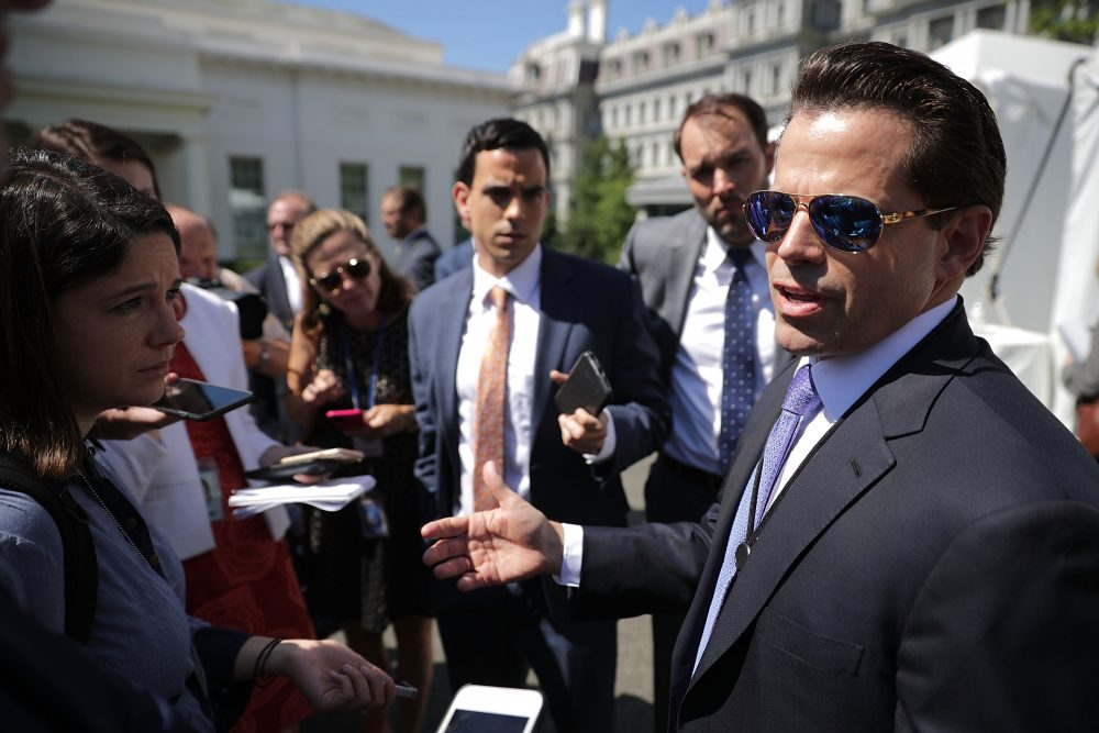 "Former White House communications director Anthony Scaramucci talks with reporters during ""Regional Media Day"" at the White House July 25, 2017 in Washington. (Chip Somodevilla/Getty Images)"