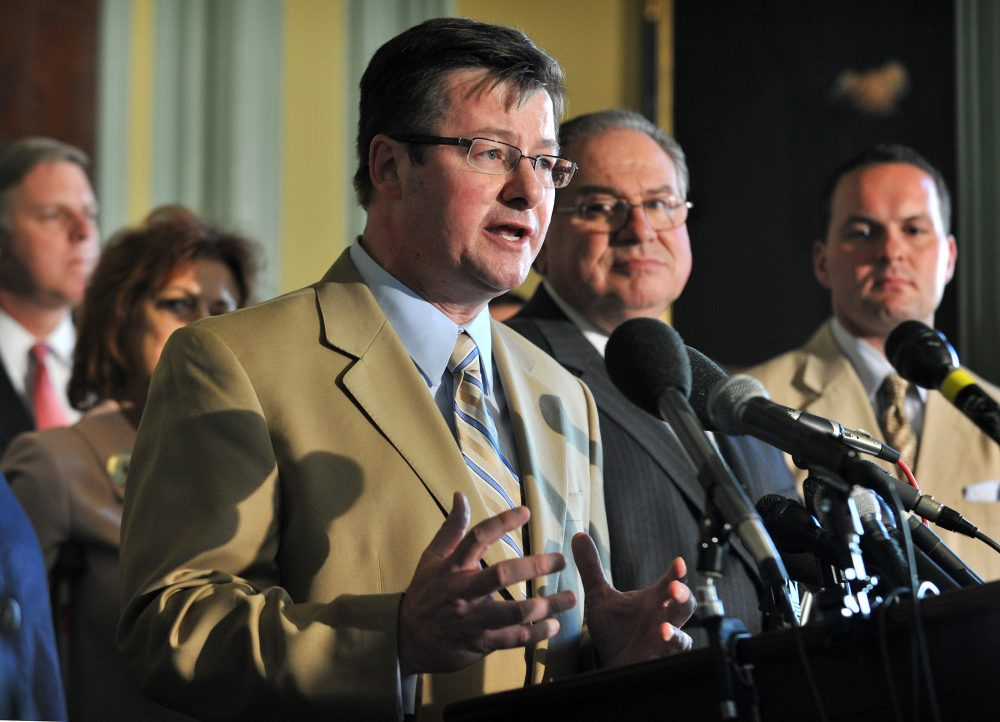 State Rep. Brian Dempsey speaks to reporters at the State House in 2010. (Josh Reynolds)