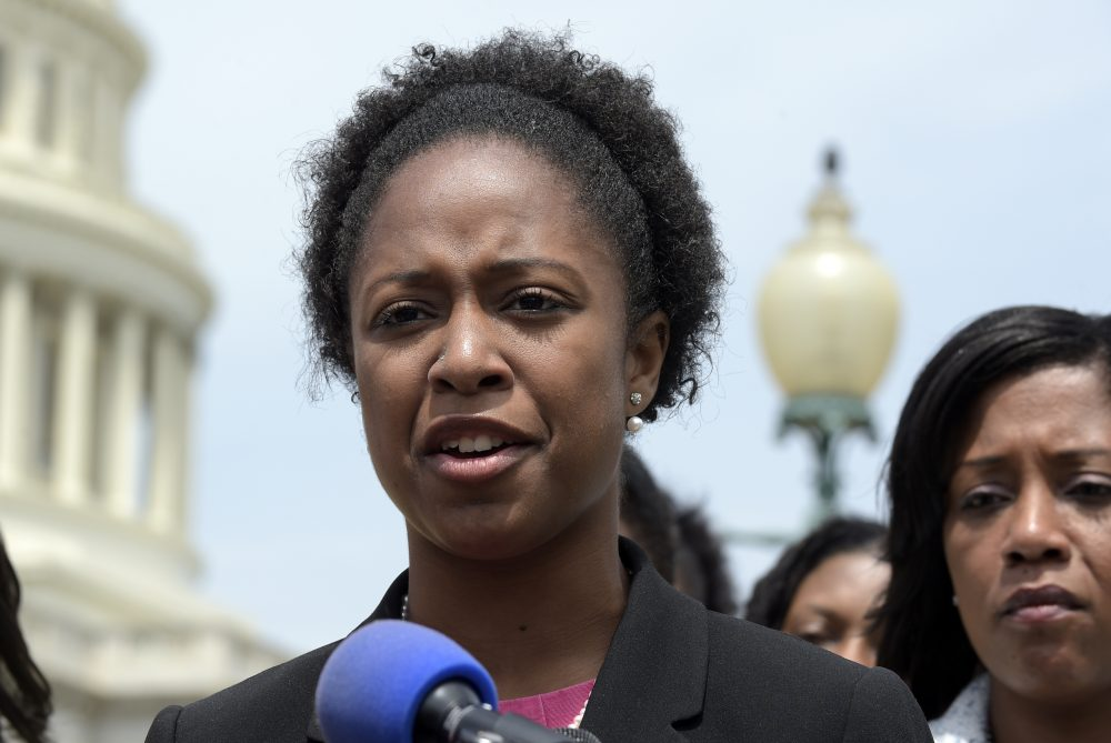 American University student government president Taylor Dumpson speaks during a news conference on Capitol Hill in Washington, May 4, 2017. Several bananas hanging from nooses were found on the AU campus on May 1, 2017, less than a day after Dumpson became the school's first black student body president. (Susan Walsh/AP)