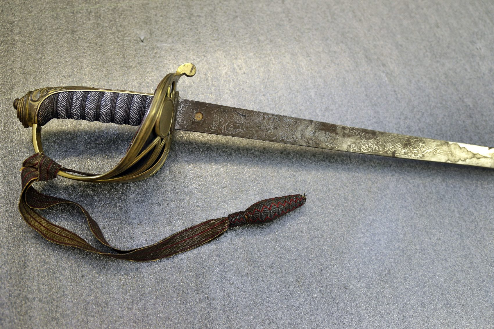 The sword that belonged to Col. Robert Gould Shaw, the commanding officer of the first all-black regiment raised in the North during the Civil War. Stolen after Shaw was killed during the 54th Massachusetts Voluntary Infantry's attack on Fort Wagner, South Carolina in 1863, the sword was recently found in the attic of a Boston-area home. (Elise Amendola/AP)
