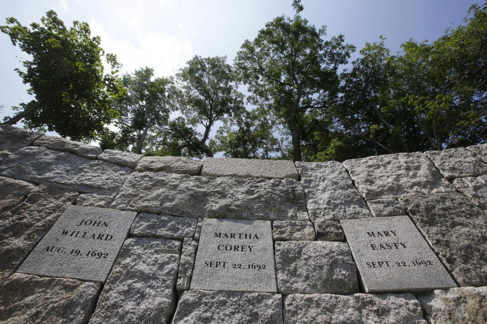 Proctor's Ledge was identified last year as an execution site for those convicted during the Salem witch trials in 1692. On Wednesday, a new memorial at the site was dedicated in honor of those killed. (Stephan Savoia/AP)