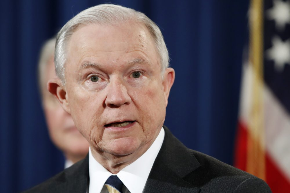 In this July 13, 2017 file photo, Attorney General Jeff Sessions speaks during a news conference at the Justice Department in Washington. (Jacquelyn Martin, File/AP)