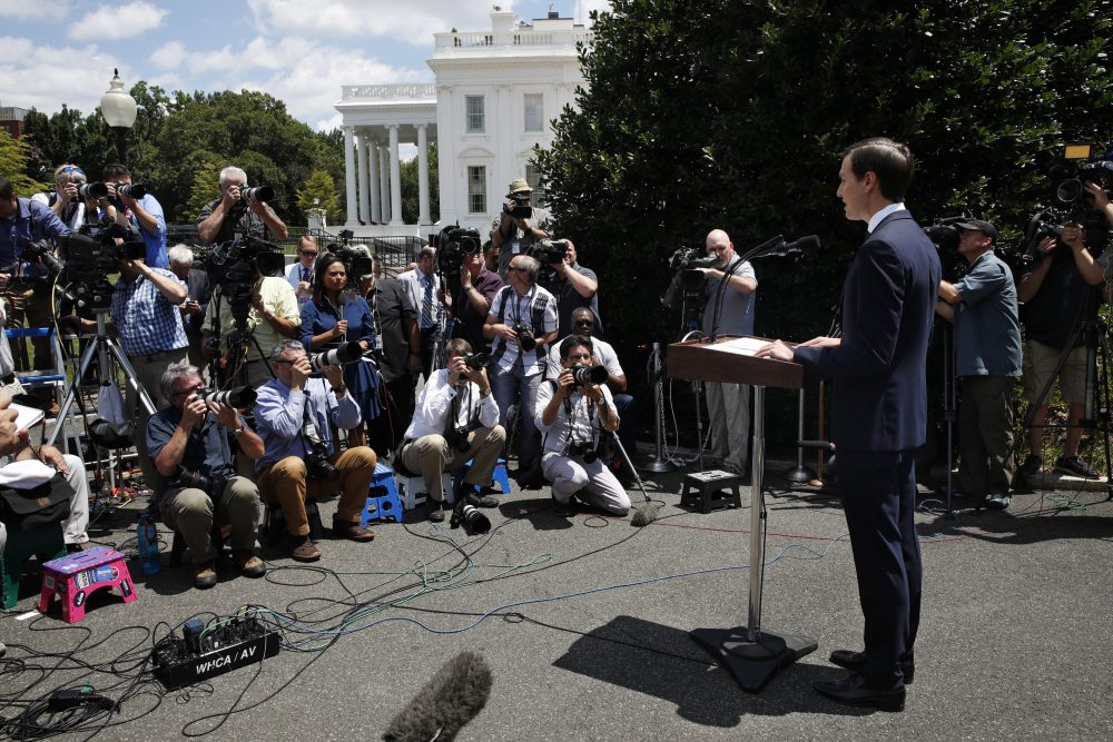 White Housesenior adviser Jared Kushner speaks to the media outside the White House in Washington,Monday, July 24, 2017, after meeting behind closed doors with the Senate Intelligence Committeeon the investigation into possible collusion between Russian officials and the Trump campaign. (AP Photo/Jacquelyn Martin)
