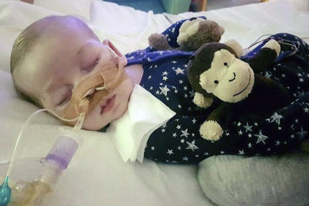 This is an undated photo of sick 11-month old baby Charlie Gard provided by his family, taken at Great Ormond Street Hospital in London. British media are reporting a family announcement that 11-month old Charlie Gard, has died Friday July 28, 2017. (Family of Charlie Gard via AP)
