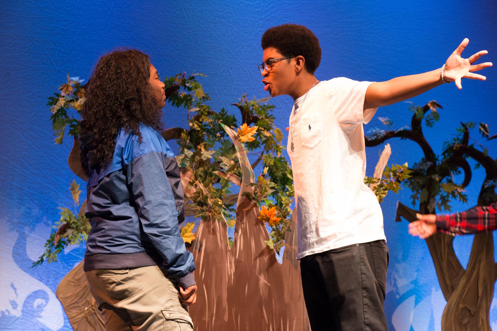 "Codman Academy students Shameka Joseph (left) and Tre'Jon Carrasquillo play Antonio and Toby Belch in the Codman-Huntington Summer Theatre Institute production of ""Twelfth Night."" (Courtesy Huntington Theatre Company)"