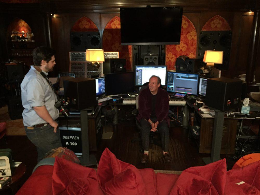 "Matt Schrader (left) and composer Hans Zimmer during the filming of ""Score."" (Gravitas Ventures)"